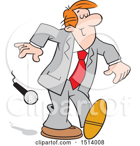 Clipart of a Cartoon White Business Man Dropping the Mic - Royalty Free Vector Illustration by Johnny Sajem