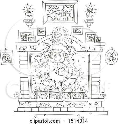 Clipart of a Lineart Christmas Santa Holding a Sack in a Fireplace - Royalty Free Vector Illustration by Alex Bannykh