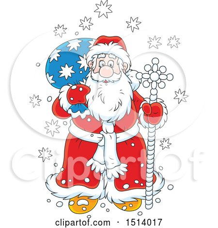 Clipart of a Christmas Santa Claus with a Pole and Sack in the Snow - Royalty Free Vector Illustration by Alex Bannykh