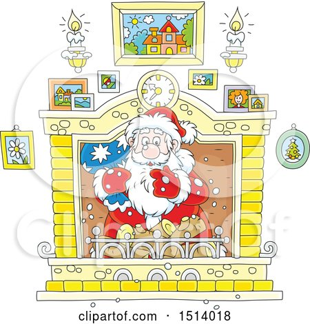 Clipart of a Christmas Santa Claus Holding a Sack in a Fireplace - Royalty Free Vector Illustration by Alex Bannykh