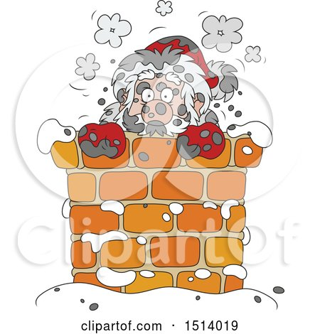 Clipart of a Sooty Santa in a Chimney - Royalty Free Vector Illustration by Alex Bannykh