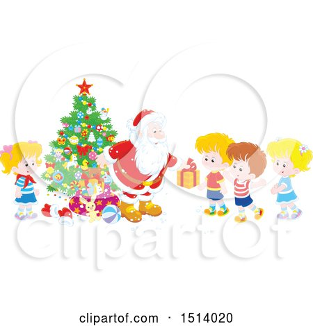 Clipart of a Group of Kids Receiving Christmas Gifts from Santa by a Tree - Royalty Free Vector Illustration by Alex Bannykh