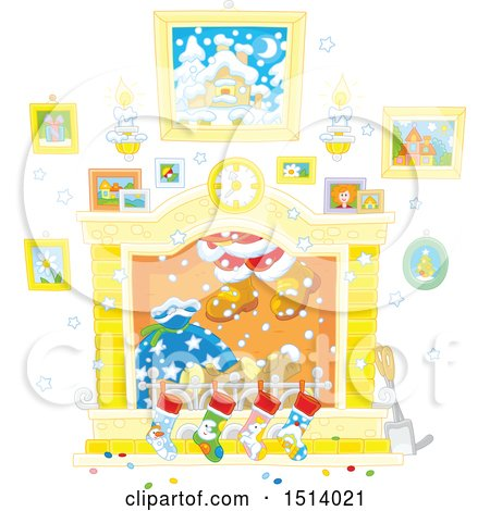 Clipart of a Fireplace with Santa's Feet Emerging from the Chimney - Royalty Free Vector Illustration by Alex Bannykh