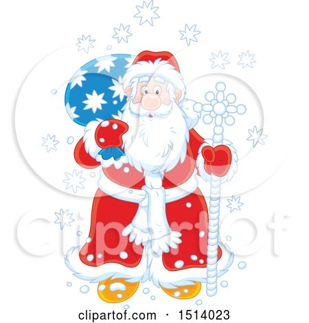 Clipart of a Christmas Santa with a Pole and Sack in the Snow - Royalty Free Vector Illustration by Alex Bannykh