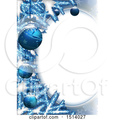 Clipart of a 3d Oval Frame with Blue Christmas Baubles and Branches with Snow - Royalty Free Vector Illustration by dero