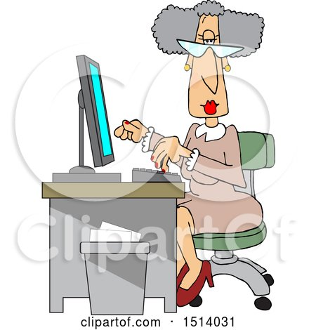 Cartoon Senior White Female Secretary at Her Desk Posters, Art Prints