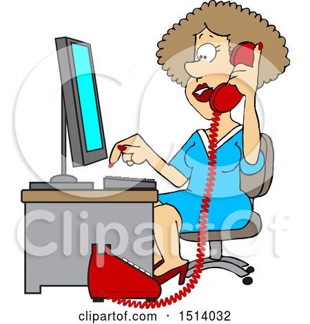 Cartoon White Female Secretary Taking a Phone Call Posters, Art Prints