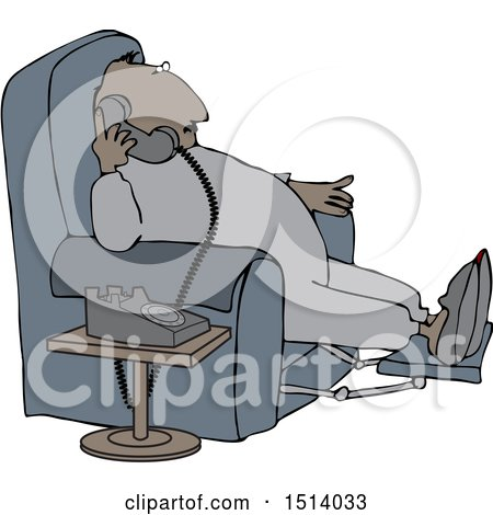 Clipart of a Cartoon Chubby Black Man in Pajamas, Sitting in a Chair and Talking on the Phone - Royalty Free Vector Illustration by djart