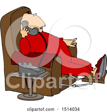 Clipart of a Cartoon Chubby White Man in Pajamas, Sitting in a Chair and Talking on the Phone - Royalty Free Vector Illustration by djart