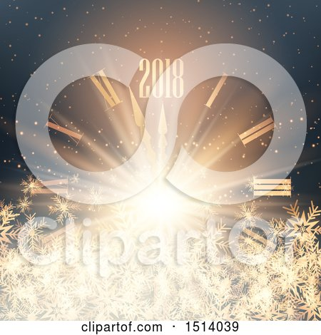Clipart of a 2018 New Year Design over a Clock with Snowflakes and Flares - Royalty Free Vector Illustration by KJ Pargeter