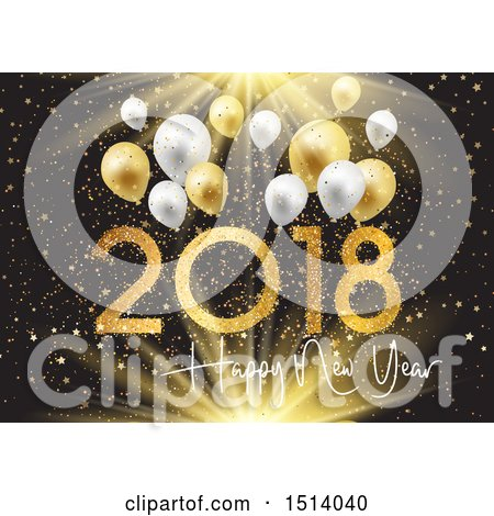 Clipart of a 2018 Happy New Year Design with Gold Stars and Confetti and Balloons over Black - Royalty Free Vector Illustration by KJ Pargeter