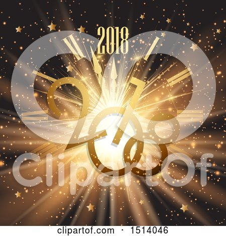 Clipart of a 2018 New Year Design with a Clock and Rays - Royalty Free Vector Illustration by KJ Pargeter