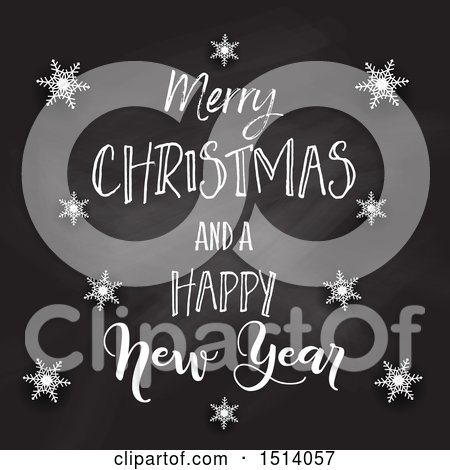 Clipart of a Merry Christmas and a Happy New Year Greeting on a Blackboard with Snowflakes - Royalty Free Vector Illustration by KJ Pargeter