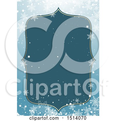 Clipart of a Winter or Christmas Border with Snowflakes - Royalty Free Vector Illustration by KJ Pargeter