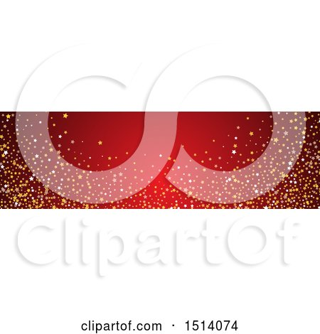 Clipart of a Red Website Banner Header with Stars - Royalty Free Vector Illustration by KJ Pargeter