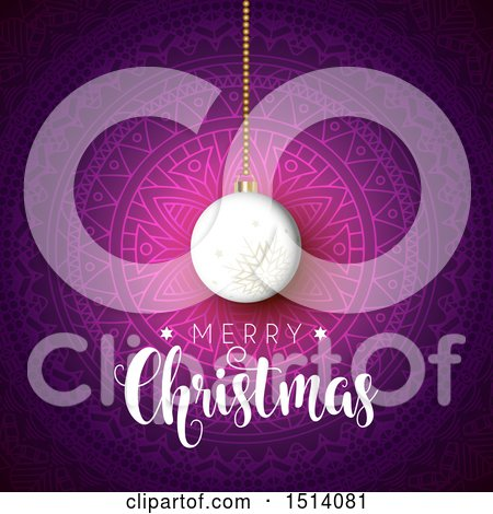 Clipart of a Merry Christmas Greeting with a Bauble over a Mandala - Royalty Free Vector Illustration by KJ Pargeter