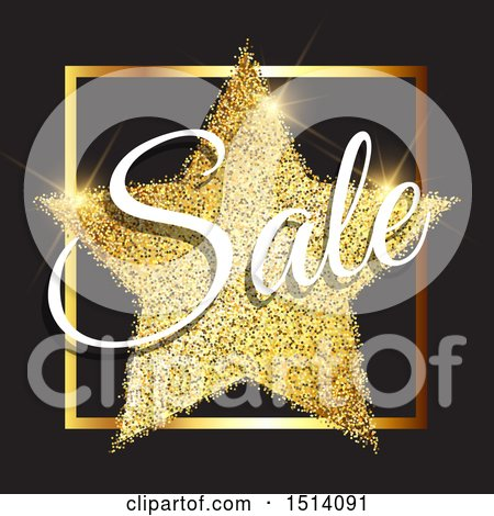 Clipart of a Gold Glitter Star with Sale Text on Black - Royalty Free Vector Illustration by KJ Pargeter