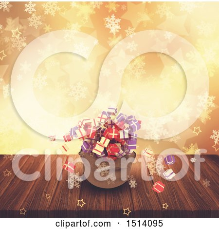 Clipart of a 3d Santa Sack with Christmas Gifts over Bokeh, Stars and Snowflakes - Royalty Free Illustration by KJ Pargeter