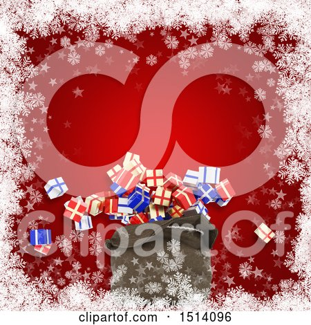 Clipart of a 3d Santa Sack with Christmas Gifts over Red with Snowflakes - Royalty Free Illustration by KJ Pargeter
