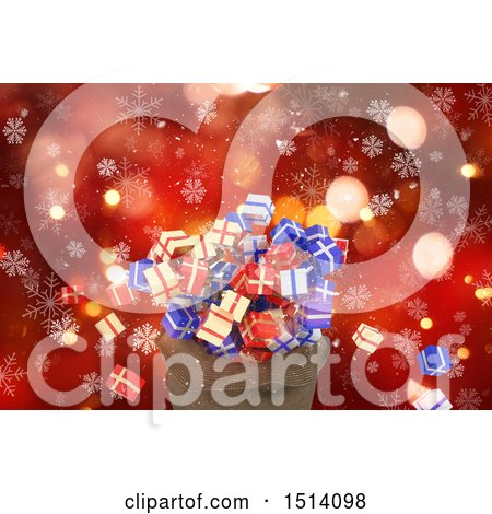 Clipart of a 3d Santa Sack with Christmas Gifts over Red Bokeh and Snowflakes - Royalty Free Illustration by KJ Pargeter