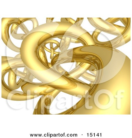 3d Tangle Of Golden Pipes Twisting, Turning And Intermingling Like An Internet Highway Clipart Picture Illustration by 3poD