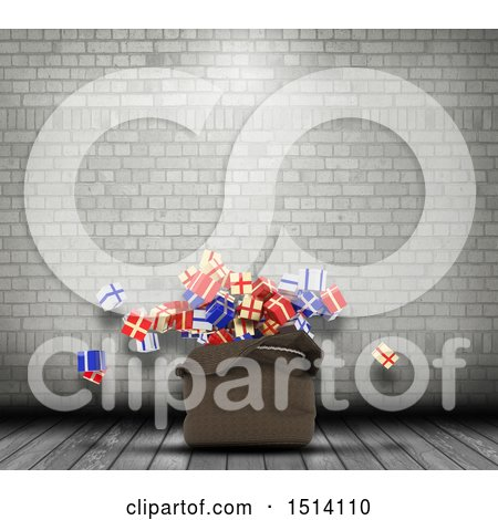 Clipart of a 3d Santa Sack with Christmas Gifts in an Industrial Room - Royalty Free Illustration by KJ Pargeter