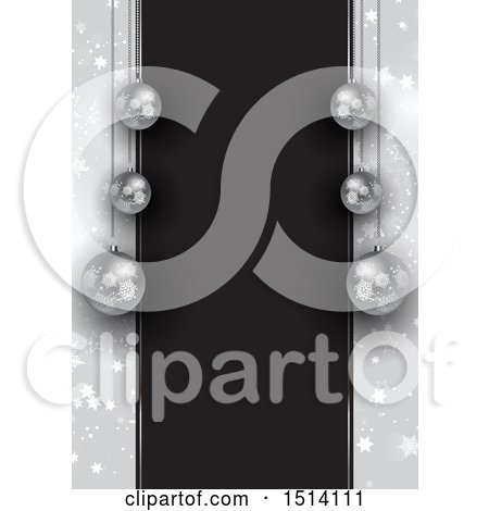 Clipart of a 3d Christmas Border with Silver Baubles and Black Text Space with Stars - Royalty Free Vector Illustration by KJ Pargeter