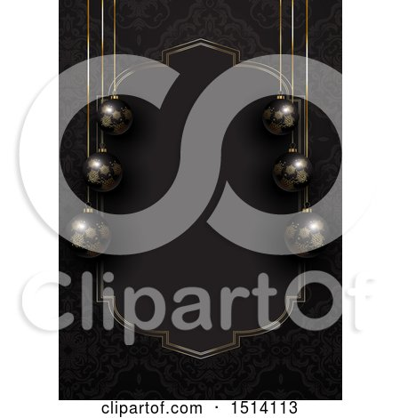 Clipart of a 3d Christmas Border of Black Baubles and a Gold Frame - Royalty Free Vector Illustration by KJ Pargeter