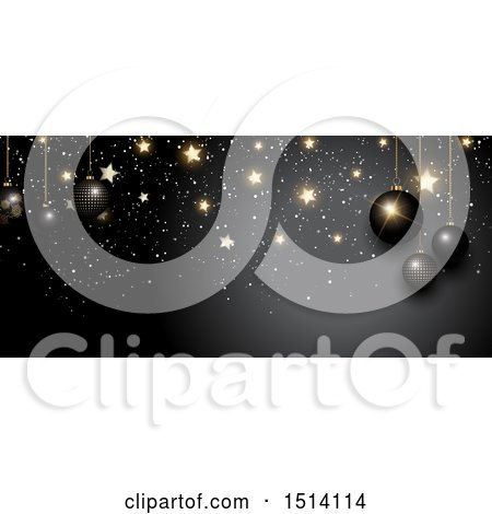Clipart of a Christmas Border with 3d Baubles and Gold Stars on Black - Royalty Free Vector Illustration by KJ Pargeter