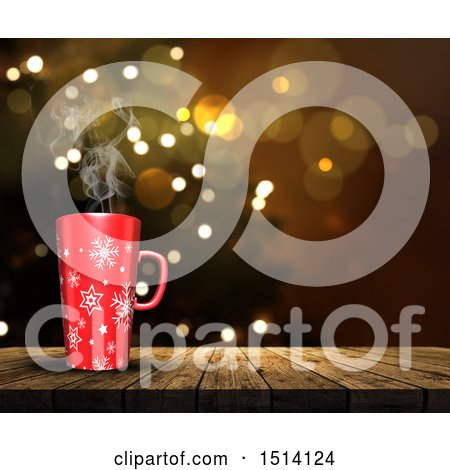 Clipart of a 3d Snowflake Coffee Mug on a Wood Surface over Flares - Royalty Free Illustration by KJ Pargeter
