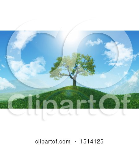 Clipart of a 3d Tree on a Grassy Hill in the Spring - Royalty Free Illustration by KJ Pargeter