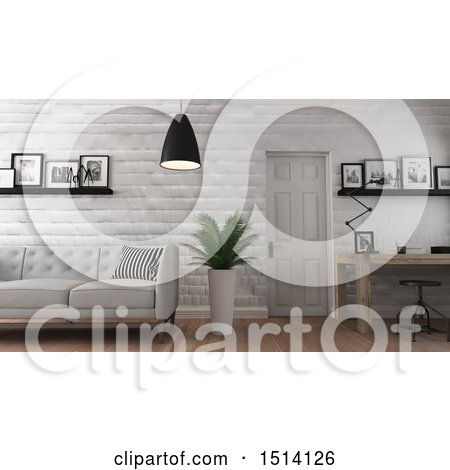 Clipart of a 3d Home Office and Living Room Interior - Royalty Free Illustration by KJ Pargeter