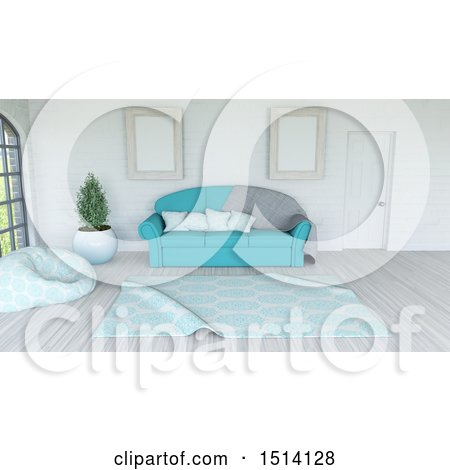 Clipart of a 3d Living Room Interior with a Sofa and Rug - Royalty Free Illustration by KJ Pargeter