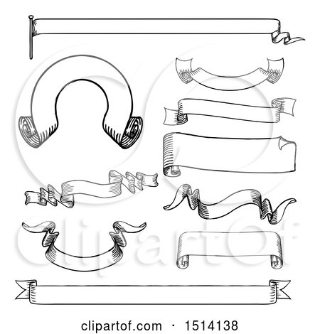 clipart of black and white vintage banner design elements, Powerpoint templates