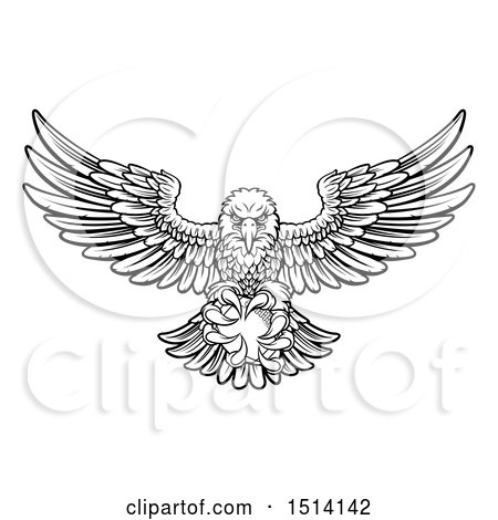 Clipart of a Black and White Swooping American Bald Eagle with a Football in His Talons - Royalty Free Vector Illustration by AtStockIllustration
