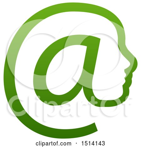 Clipart of a Gradient Green Profiled Face in an Email Arobase at Symbol - Royalty Free Vector Illustration by AtStockIllustration