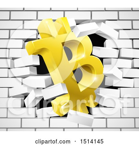 Clipart Of A 3d Gold Bitcoin Currency Symbol Breaking Through White Brick Wall