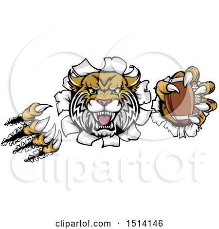 Clipart of a Vicious Wildcat Mascot Shredding Through a Wall with a Football - Royalty Free Vector Illustration by AtStockIllustration