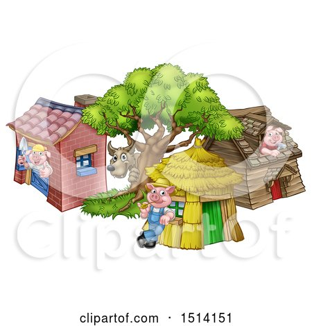 Clipart of a Wolf and Piggies at Their Brick, Wood and Straw Houses - Royalty Free Vector Illustration by AtStockIllustration