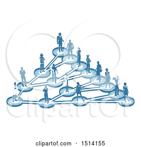 Clipart of a Network of Parents and Occupational People in Blue - Royalty Free Vector Illustration by AtStockIllustration