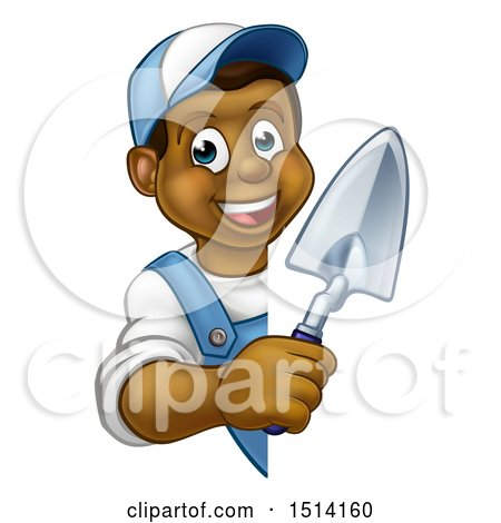 Clipart of a Happy Black Male Gardener Holding a Garden Trowel Around a Sign - Royalty Free Vector Illustration by AtStockIllustration
