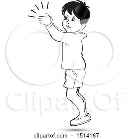 Clipart of a Boy Clapping, Grayscale - Royalty Free Vector Illustration by Lal Perera