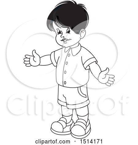 Clipart of a Boy Holding His Arms Open - Royalty Free Vector Illustration by Lal Perera