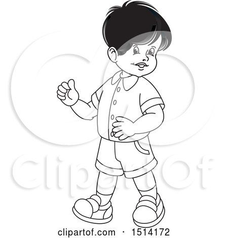 Clipart of a Boy Walking - Royalty Free Vector Illustration by Lal Perera