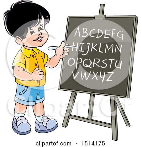 Clipart of a Boy Writing the Alphabet on a Black Board - Royalty Free Vector Illustration by Lal Perera