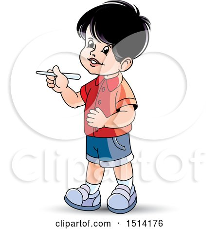 Clipart of a Boy Holding Chalk - Royalty Free Vector Illustration by Lal Perera