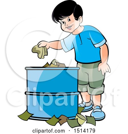 Clipart of a Boy Using a Trash Can - Royalty Free Vector Illustration by Lal Perera
