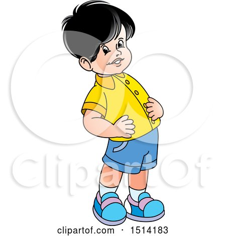 Clipart of a Boy Exercising - Royalty Free Vector Illustration by Lal Perera