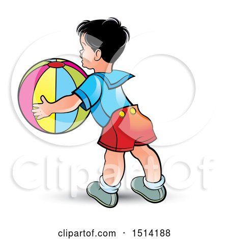 Clipart of a Boy Catching a Beach Ball - Royalty Free Vector Illustration by Lal Perera