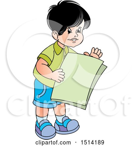 Clipart of a Boy Holding Papers - Royalty Free Vector Illustration by Lal Perera